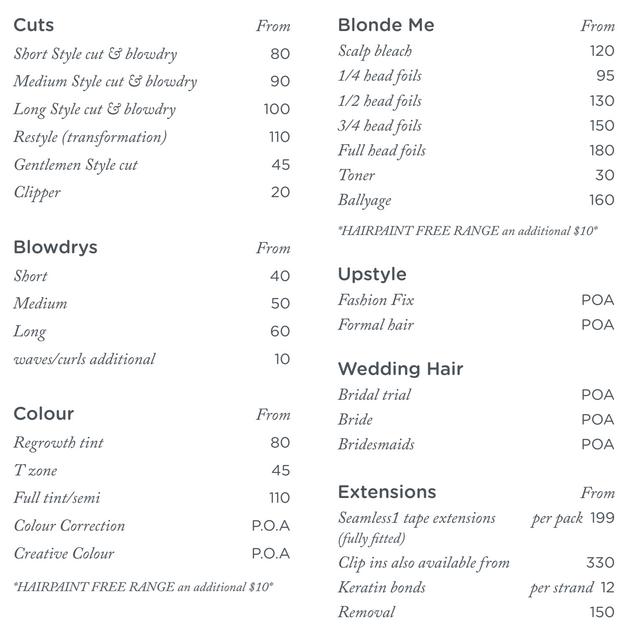 hair style price menu