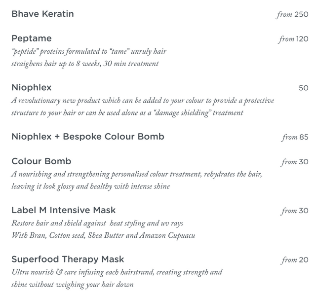 treatment menu